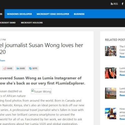 Why travel journalist Susan Wong loves her Lumia 1020