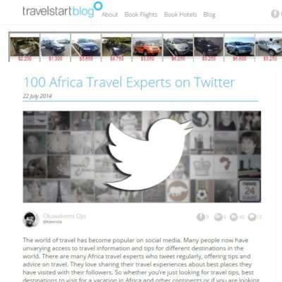 100 Africa Travel Experts on Twitter